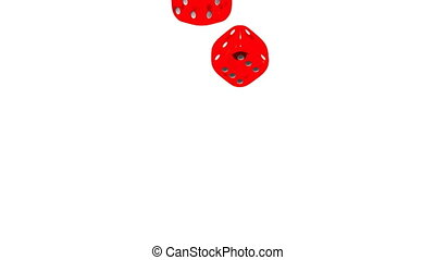 Red Dice On White Background. 3D render Animation. Isolated...