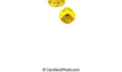 Yellow Dice On White Background 3D render Animation Isolated...