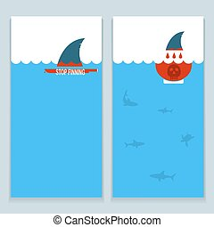 set of banners about save sharks and undersea worldVector...