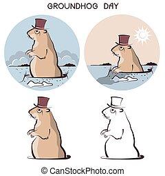 groundhog, giorno, animal., vettore, Simbolo, di, marmotta,...