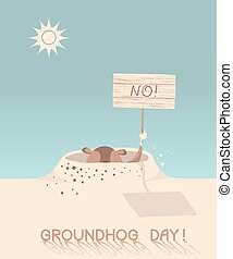 groundhog, day., Vecto, cartone animato, illustrazione,