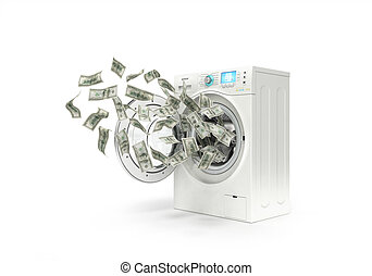 money laundering concept, dollar bills fly in the washing...