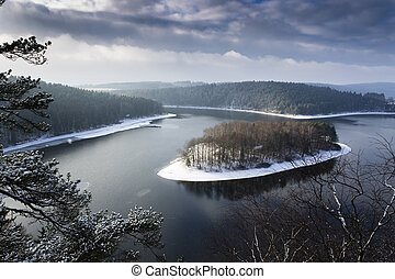 Heavy Clouds Winter Top View Landscape Lake with Island...
