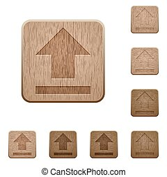 Upload wooden buttons - Set of carved wooden upload buttons...