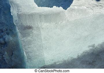 Glacial block of ice closeup. - Melting glacial block of ice...