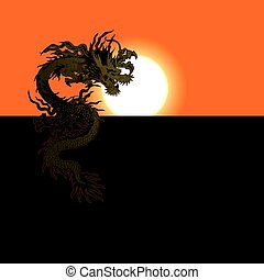 Chinese dragon at sunset or sunrise - Vector illustration of...
