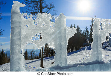Glacial ice block in sunshine - Melting glacial block of ice...