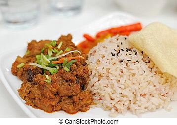 Malay vegetarian rendang chicken or mutton rice - Vegetarian...