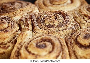 Cinnamon Buns Macro - Close up of freshly baked cinnamon...