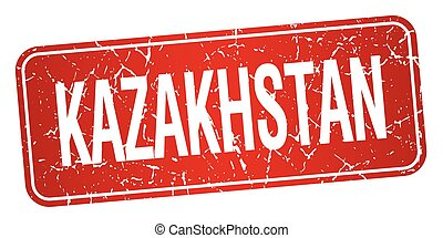 Kazakhstan red stamp isolated on white background