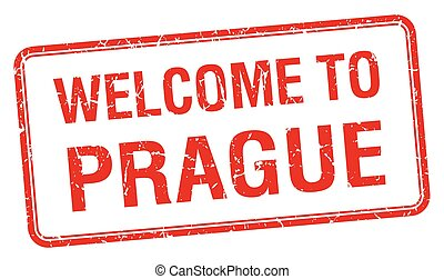 welcome to Prague red grunge square stamp