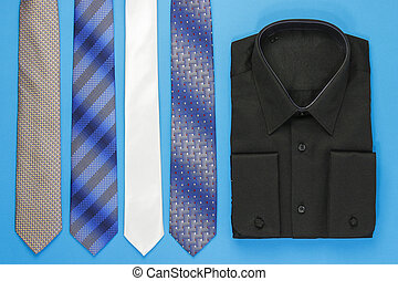 Black man shirt with ties - Black man shirt and some tie on...