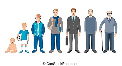Generation of men from infants to seniors. Baby, child,...