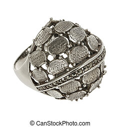 Antique silver ring - Antique solid silver ring with...