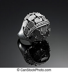 Ring antique solid silver plates and marcasite - Antique...