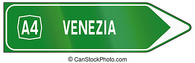 Road sign used in Italy - highway direction sign