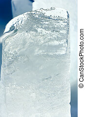Glacial block of ice closeup - Melting transparent top piece...