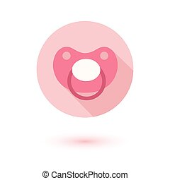 Flat modern design of soother. Circle icon. Contour line.