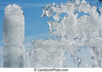 Sunshiny melting ice figure. - Melting glacial block of ice...