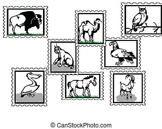 animals - illustration of icons with wild animals birds and...