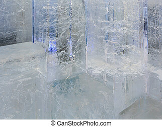 Glacial transparent block of ice with patterns. - Glacial...