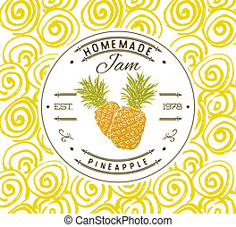Jam label design template for pineapple dessert product with...