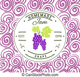 Jam label design template for grape dessert product with...