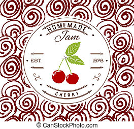 Jam label design template for cherry dessert product with...