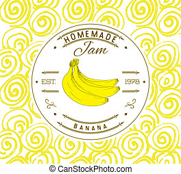 Jam label design template for banana dessert product with...