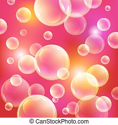 soap bubbles on a pink background