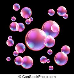 Vector illustration of shiny bubbles on the sky background