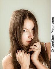 close-up portrait young woman - beauty close-up portrait...