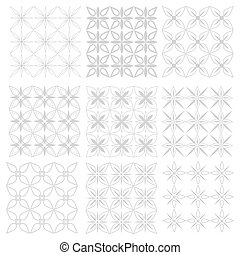 Set seamless patterns gray