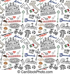 Milan Italy seamless pattern with Hand drawn sketch elements...