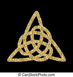 Golden glittering logo template in Celtic knots style on...