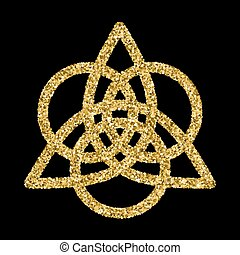 Golden glittering logo template in Celtic knots style on...