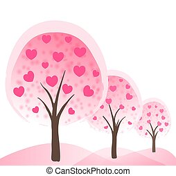 abstract romantic background with pink trees with hearts as flowers. vector