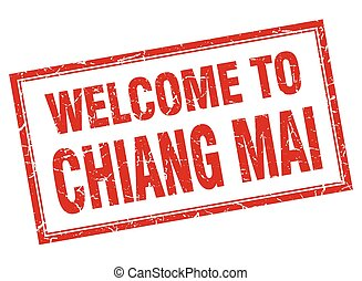 Chiang mai red square grunge welcome isolated stamp
