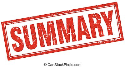 summary red square grunge stamp on white