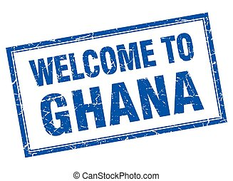 Ghana blue square grunge welcome isolated stamp