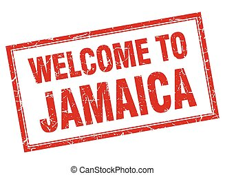 Jamaica red square grunge welcome isolated stamp