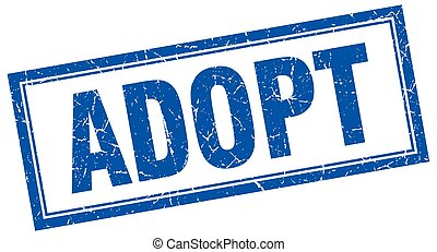 adopt blue square grunge stamp on white