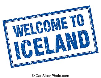 Iceland blue square grunge welcome isolated stamp