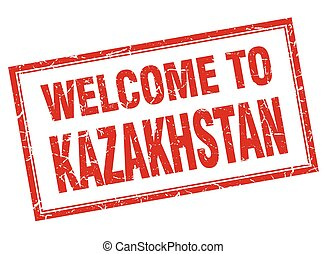 Kazakhstan red square grunge welcome isolated stamp