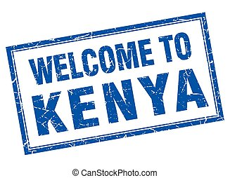 Kenya blue square grunge welcome isolated stamp