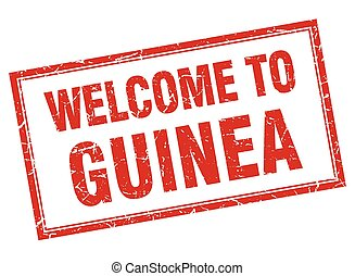 Guinea red square grunge welcome isolated stamp