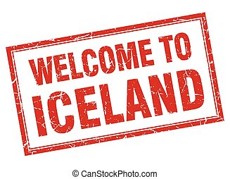 Iceland red square grunge welcome isolated stamp