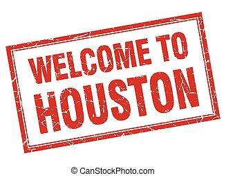 Houston red square grunge welcome isolated stamp