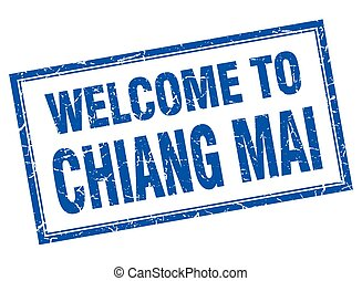 Chiang mai blue square grunge welcome isolated stamp