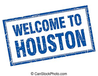 Houston blue square grunge welcome isolated stamp